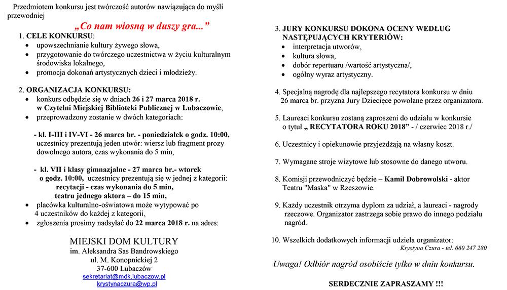 Konkurs Recytatorski Powiatu Lubaczowskiego Miejski Dom